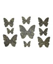 Декор из жидких обоев (Бабочки №1) - набор 9шт